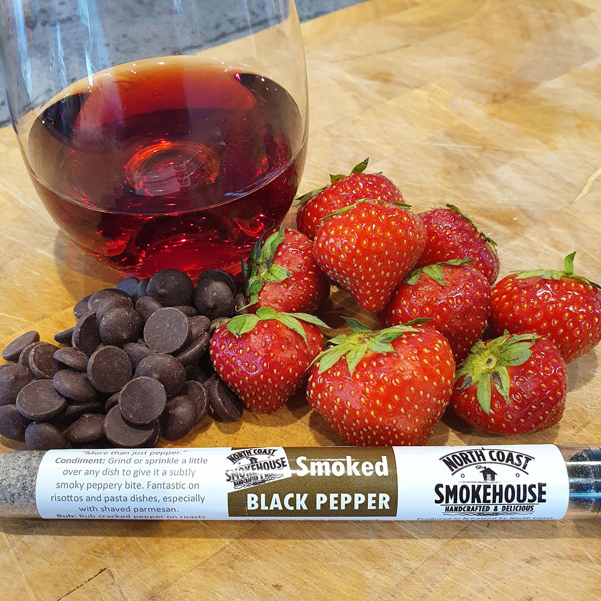 North Coast Smokehouse Black Pepper with Strawberries & Cabernet